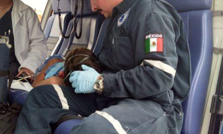 """A bordo del helicóptero """"Águila I"""" un menor lesionado por las abejas fue trasladado de Encarnación de Díaz a Aguascalientes"""