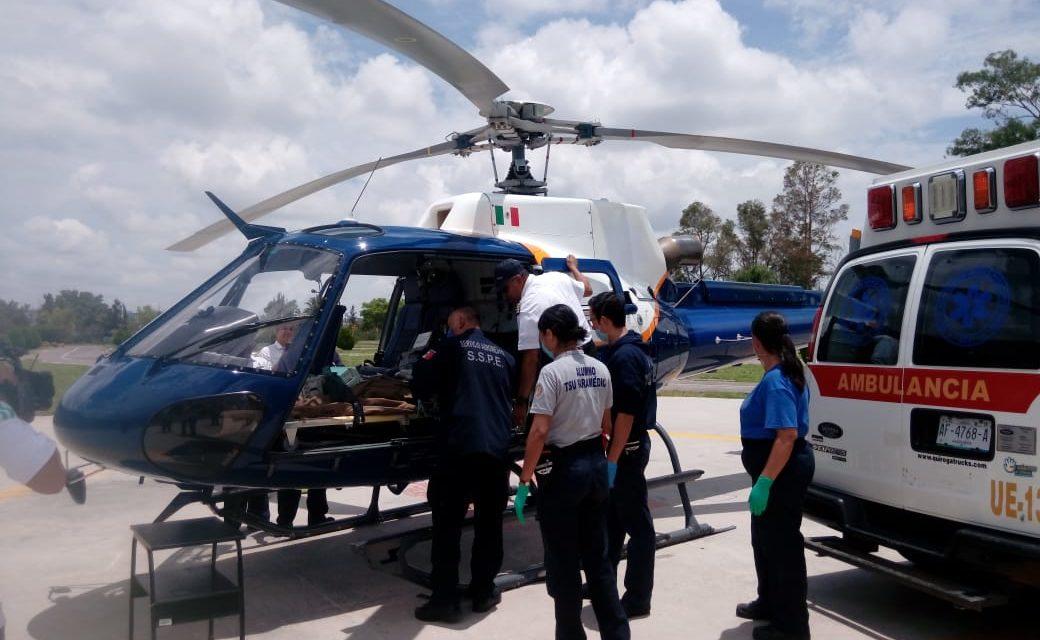 Traslada helicóptero Águila 1 a paciente con quemaduras en el 90% de su cuerpo