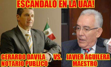 """¡El Notario Gerardo Dávila llama """"Viejo decrepito"""" al Lic. Javier Aguilera frente a sus alumnos en la UAA!"""
