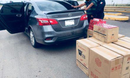 Detienen en la puerta de acceso oriente a sujeto con más de 10 mil 500  cigarros de contrabando