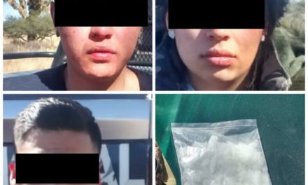 Captura la SSPE a tres sujetos originarios de Zacatecas en posesión de un kilogramo de droga crystal