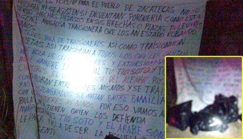 ¡Dejaron restos humanos en 3 bolsas de plástico junto con un narco-mensaje en Zacatecas!
