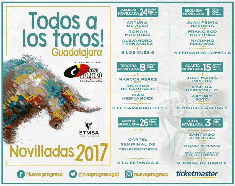 ¡Anuncian el Serial de Novilladas 2017 en la Plaza de Toros Nuevo Progreso!
