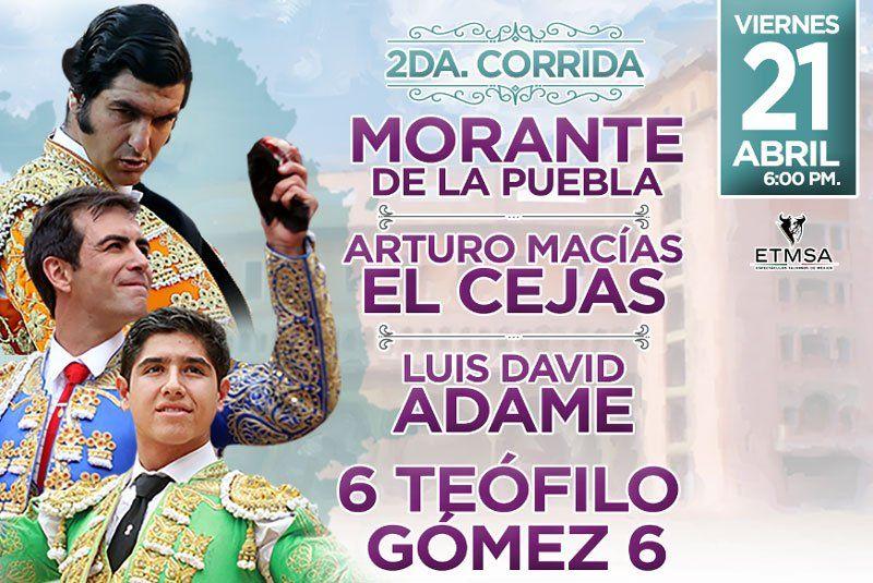 ¡Listo el encierro para 2a. Corrida en la Feria de San Marcos 2017: Morante, El Cejas y Luis David Adame!