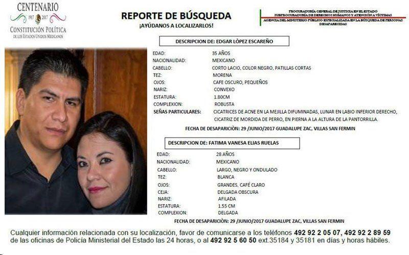 SERVICIO SOCIAL: Piden apoyo para localizar a 2 personas desaparecidas en Guadalupe, Zacatecas